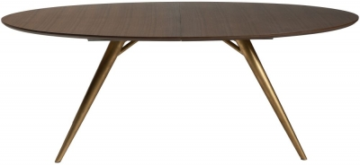 Dan Form Eclipse Smoked Oak 200cm-300cm Rectangular Extending Dining Table with Gold Legs