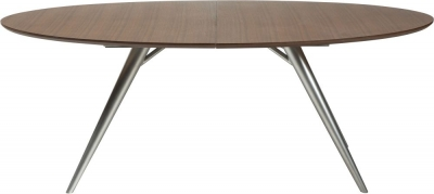 Dan Form Eclipse Smoked Oak 200cm-300cm Rectangular Extending Dining Table with Silver Legs