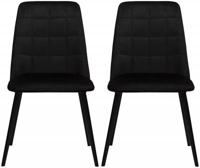 Dan Form Embrace Meteorite Black Velvet Dining Chair (Pair)