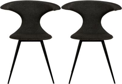 Dan Form Flair Crow Black Fabric Dining Chair (Pair)