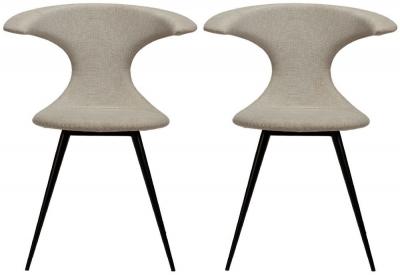 Dan Form Flair Desert Sand Fabric Dining Chair (Pair)