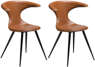 Dan Form Flair Brown Faux Leather Dining Chair with Round Black Legs (Pair)