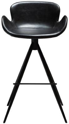 Dan Form Gaia Vintage Black Faux Leather Barstool