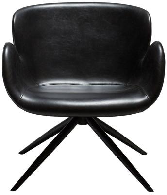 Dan Form Gaia Vintage Black Faux Leather Lounge Chair