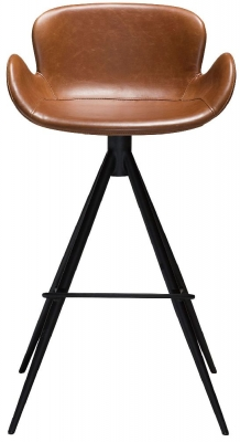 Dan Form Gaia Vintage Light Brown Faux Leather Barstool