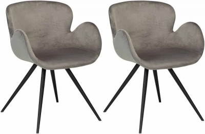 Dan Form Gaia Alu Velvet Fabric Dining Chair with Black Legs (Pair)