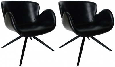 Dan Form Gaia Black Faux Leather Dining Chair with Black Legs (Pair)