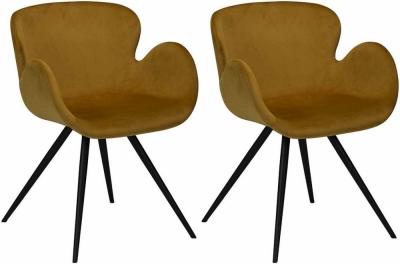 Dan Form Gaia Bronze Velvet Fabric Dining Chair with Black Legs (Pair)