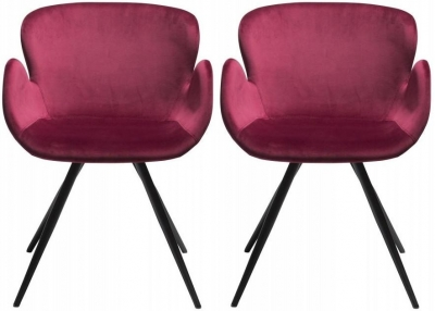 Dan Form Gaia Deep Ruby Velvet Fabric Chair with Black Legs (Pair)