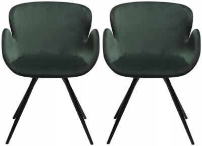 Dan Form Gaia Emerald Green Velvet Fabric Chair with Black Legs (Pair)