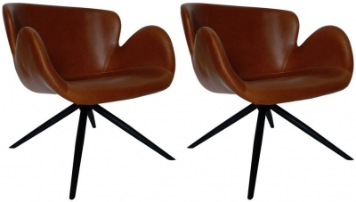 Dan Form Gaia Vintage Light Brown Faux Leather Dining Chair (Pair)