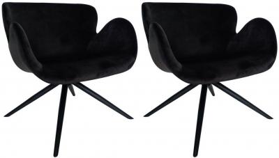 Dan Form Gaia Meteorite Black Velvet Fabric Chair with Black Legs (Pair)
