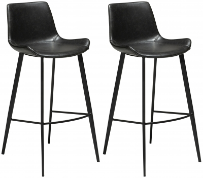 Dan Form Hype Vintage Black Faux Leather Bar Stool with Black Legs (Pair)