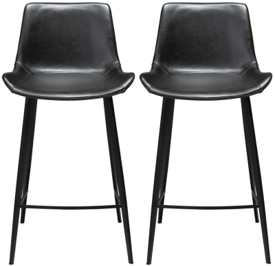 Dan Form Hype Vintage Black Faux Leather Counter Stool with Black Legs (Pair)