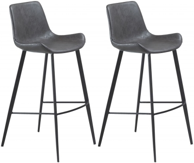 Dan Form Hype Vintage Grey Faux Leather Bar Stool with Black Legs (Pair)