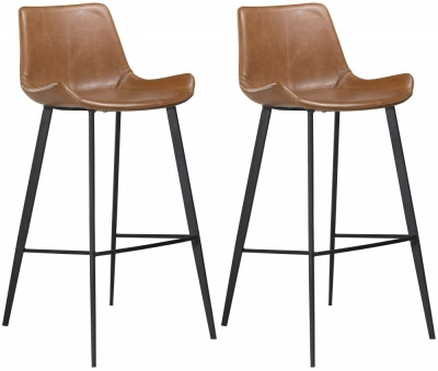 Dan Form Hype Vintage Light Brown Faux Leather Bar Stool with Black Legs (Pair)