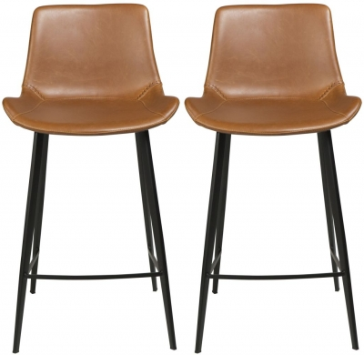 Dan Form Hype Vintage Light Brown Faux Leather Counter Stool with Black Legs (Pair)