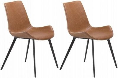 Dan Form Hype Vintage Light Brown Faux Leather Dining Chair with Black Legs (Pair)