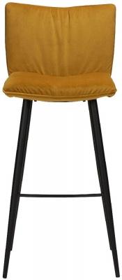 Dan Form Join Bronze Velvet Barstool
