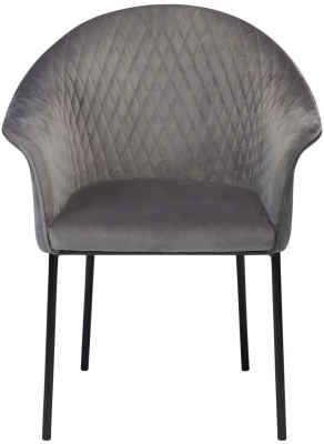 Dan Form Kite Aluminium Velvet Fabric Chair with Black Legs