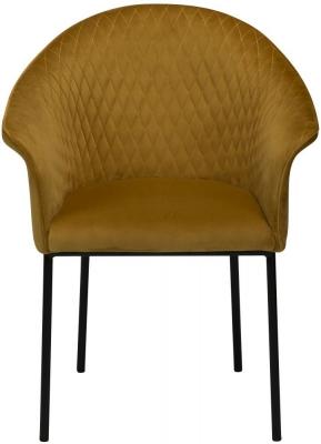 Dan Form Kite Bronze Velvet Fabric Chair with Black Legs