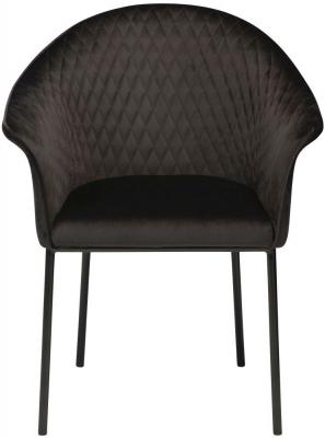 Dan Form Kite Meteorite Black Velvet Fabric Chair with Black Legs