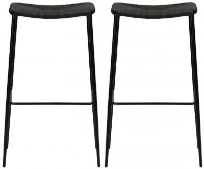 Dan Form Stiletto Black Paper Cord Barstool (Pair)
