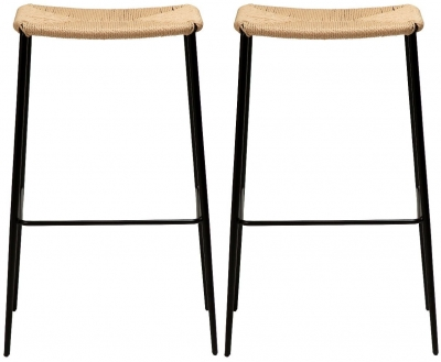 Dan Form Stiletto Natural Paper Cord Barstool (Pair)