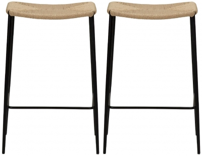 Dan Form Stiletto Natural Paper Cord Counter Stool (Pair)
