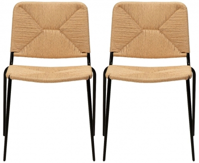 Dan Form Stiletto Natural Paper Cord Dining Chair (Pair)