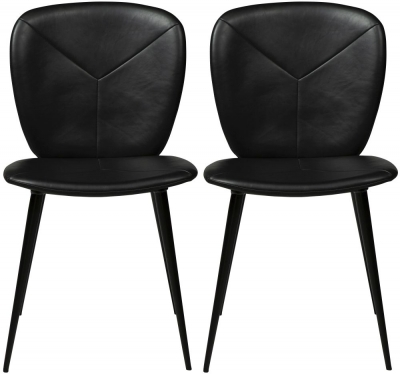 Dan Form Tyris Vintage Black Faux Leather Dining Chair with Black Legs (Pair)
