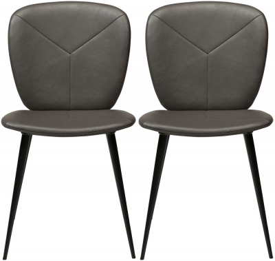 Dan Form Tyris Vintage Grey Faux Leather Dining Chair with Black Legs (Pair)