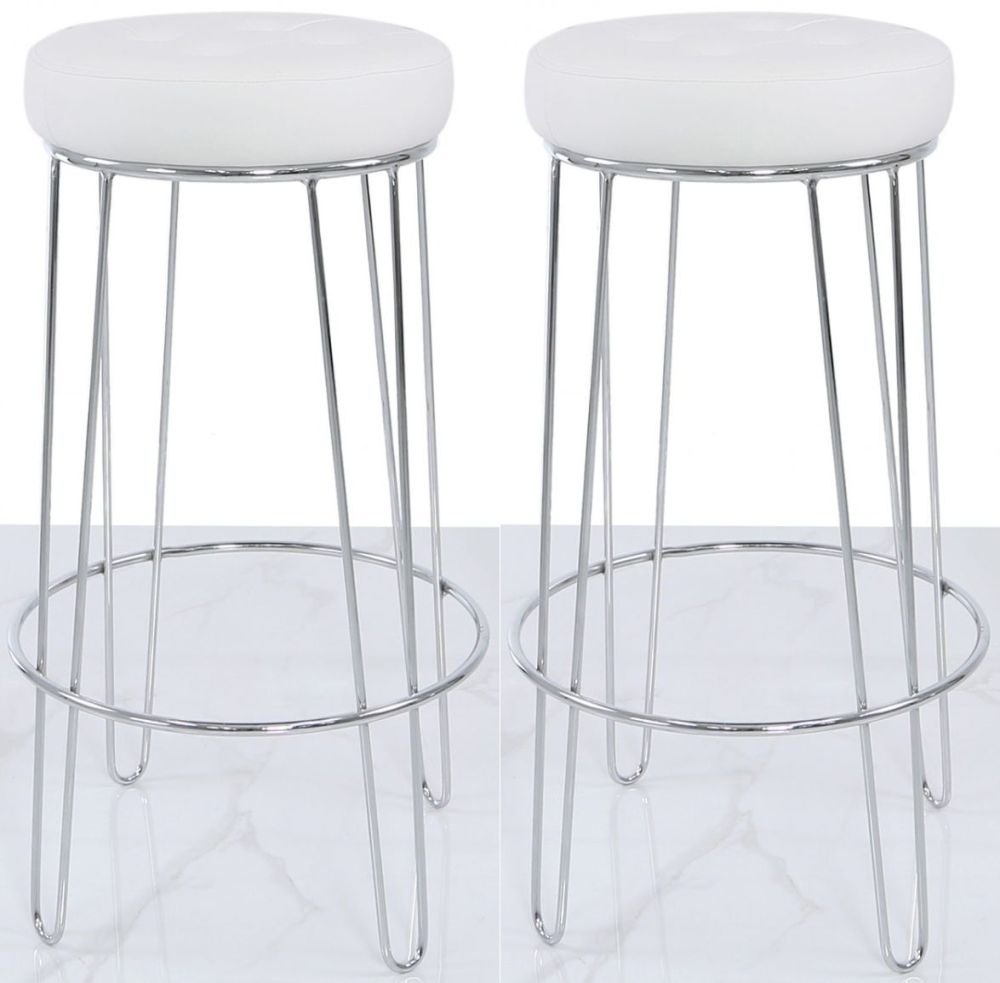 Aarhus Bar Stool (Set of 2) - White Faux Leather and Chrome