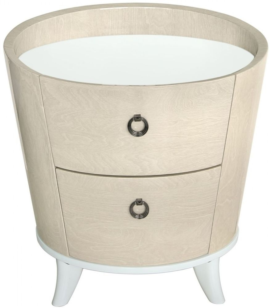 Anna Light Ivory Walnut Bedside Cabinet - 2 Drawer