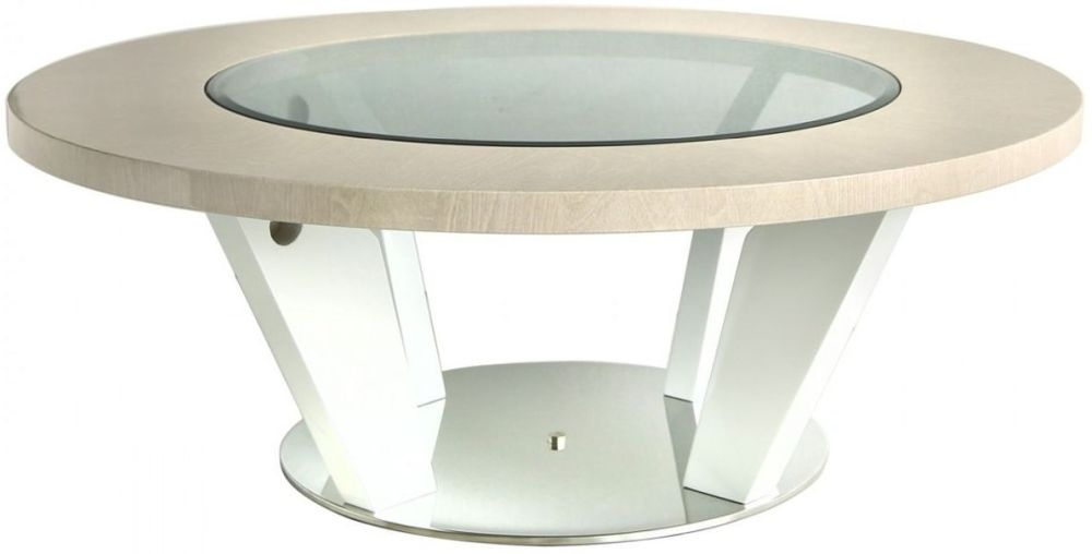 Anna Light Ivory Walnut Coffee Table - Round
