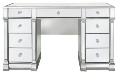 Antrim Silver Mirrored Double Pedestal Dressing Table