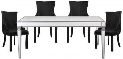 Antrim Silver Dining Table and 4 Tufted Back Black Chair