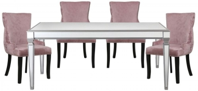 Antrim Silver Dining Table and 4 Tufted Back Pink Chair