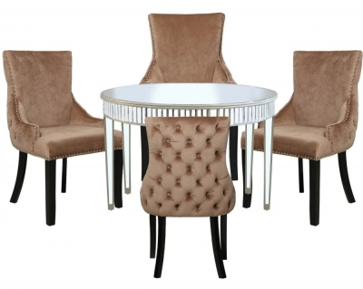 Antrim Champagne Mirrored Round Dining Table and 4 Tufted Back Champagne Chair