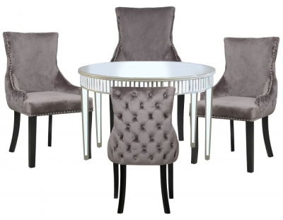 Antrim Champagne Mirrored Round Dining Table and 4 Tufted Back Grey Chair