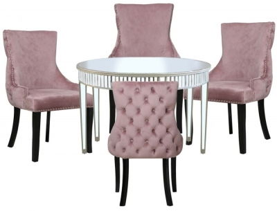 Antrim Champagne Mirrored Round Dining Table and 4 Tufted Back Pink Chair