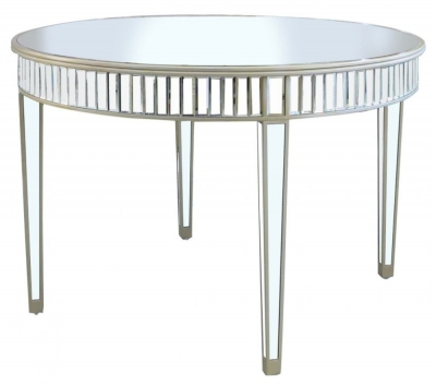 Antrim Champagne Mirrored Round Dining Table