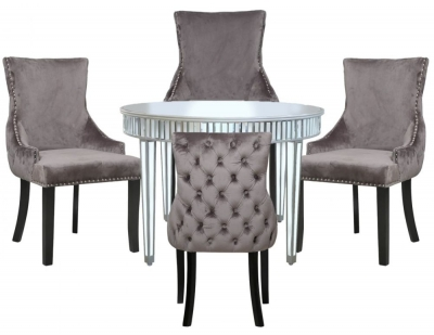 Antrim Silver Mirrored Round Dining Table and 4 Tufted Back Grey Chair