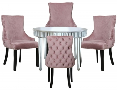 Antrim Silver Mirrored Round Dining Table and 4 Tufted Back Pink Chair