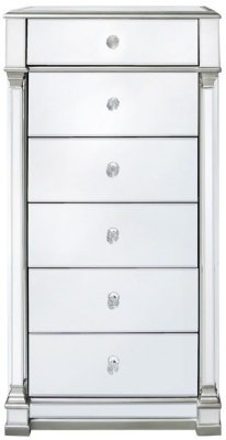 Antrim Silver Mirrored 6 Drawer Tallboy Chest