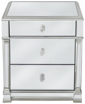 Antrim Silver Mirrored Bedside Cabinet
