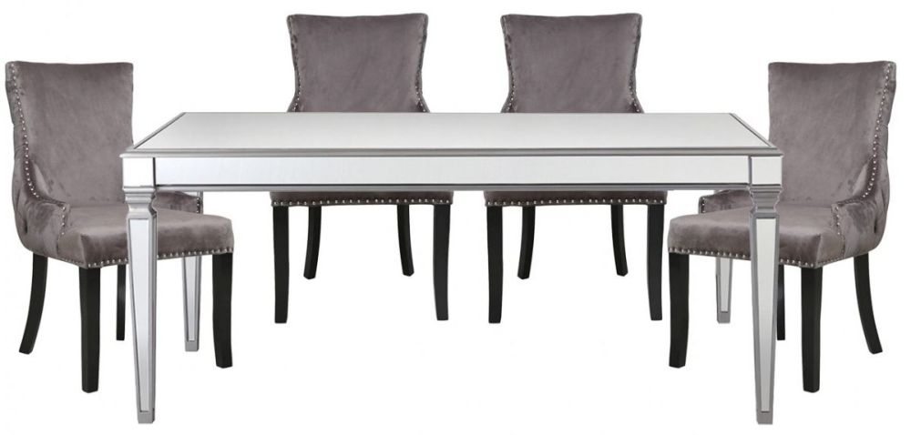Antrim Silver Dining Table and 4 Tufted Back Grey Chair
