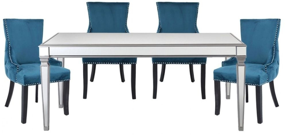 Antrim Silver Dining Table and 4 Tufted Back Marine Chair