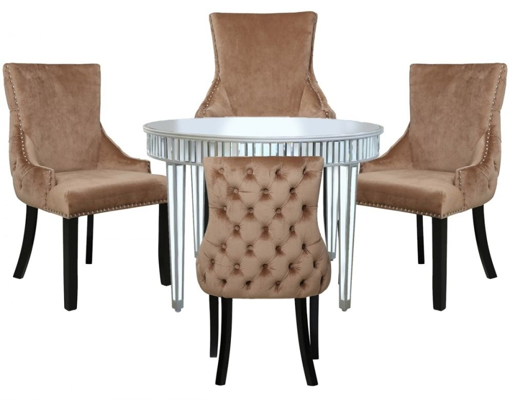 Antrim Silver Mirrored Round Dining Table and 4 Tufted Back Champagne Chair
