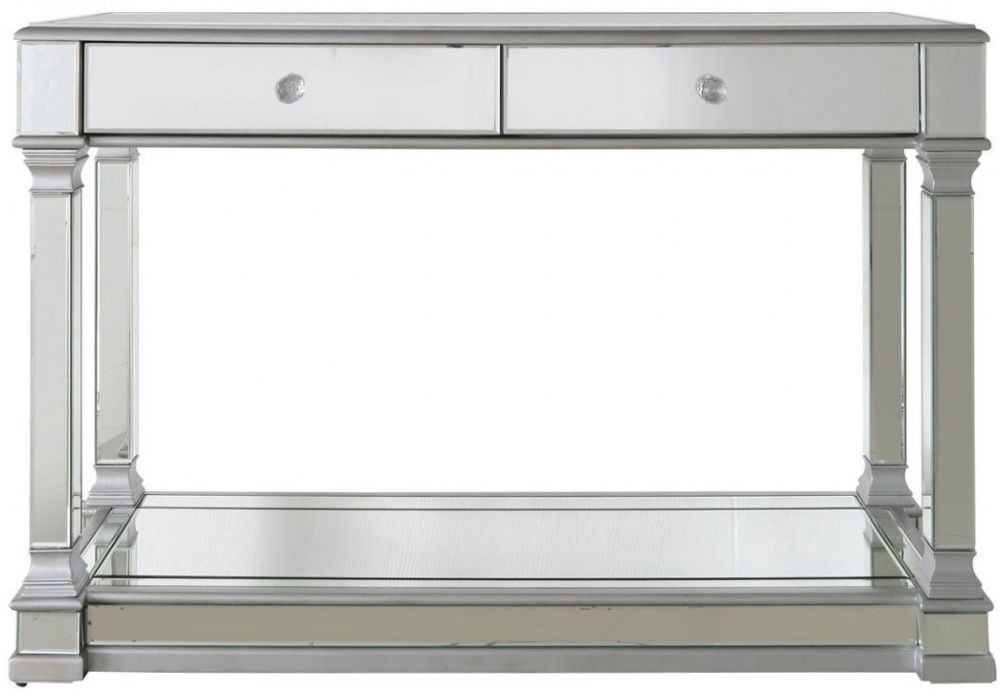 Antrim Silver Mirrored 2 Drawer Console Table